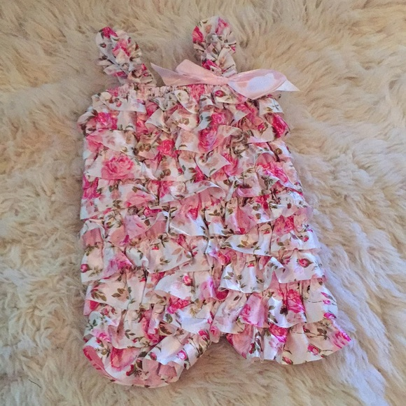 Boutique BABY NAY Pink Corduroy Ruffle Romper Outfit 18 24 months NEW NWT